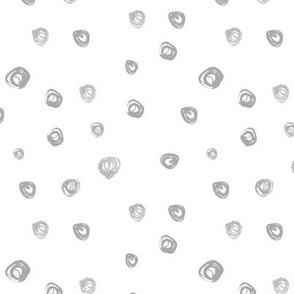 Silver brush stroke dots • grey watercolor polka dot for modern neutral nursery