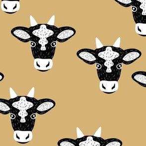 Little baby cow dairy farm animal portrait friends illustration moody yellow