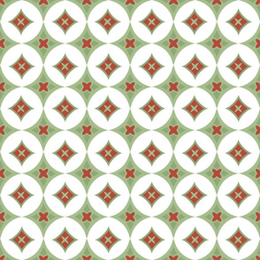 Tacked in retro red and green