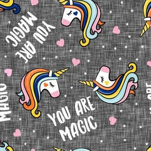 You are magic -  Valentines Day Unicorns - hearts and stars - rainbow grey - LAD19