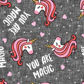 You are magic -  Valentines Day Unicorns - hearts and stars - grey - LAD19