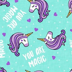 You are magic -  Valentines Day Unicorns - hearts and stars - teal - LAD19