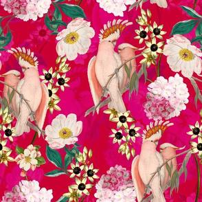 "12"" Pierre-Joseph Redouté tropicals,Lush hawaiian tropical vintage parrot jungle summer paradise in pink"