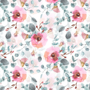 "12"" Australian Flora - hand drawn watercolor Eucalyptus and blush flowers on white"
