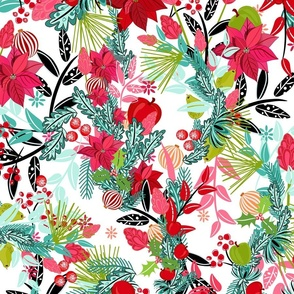 Christmas floral pattern