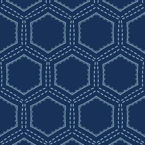 Indigo blue hexagon sashiko style japanese embroidery pattern.