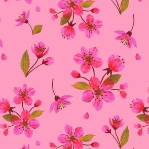 Blossoms Collage on Pink by Heather Anderso