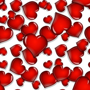 hearts of love in blood red