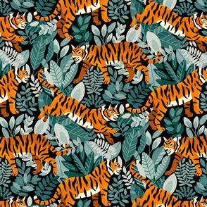 Bengal Tiger Teal Jungle (Large Version)