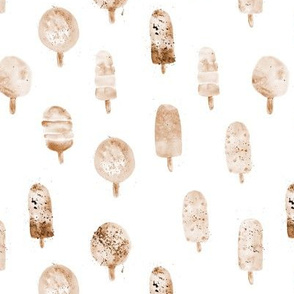 Chocolate cream popsicles ★ watercolor ice cream in beige and brown for neutral nursery