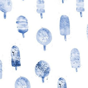 Blue watercolor ice cream popsicles ★ painted sweets for nursery