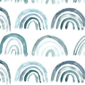 Denim blue watercolor rainbows ★ neutral painted archs for modern home decor, bedding, nursery