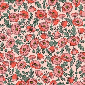 poppies floral fabric - poppy flower, spring floral fabric, autumn floral fabric, baby fabric, nursery fabric, poppies nursery, baby girl bedding - blush