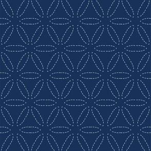 Indigo blue sashiko style japanese embroidery pattern.