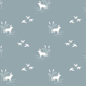 hunting scene white on blue