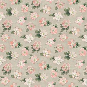 Small briar rose floral neutral greigh