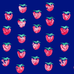 Strawberry Print Dark Blue
