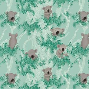 Re-scale Sleeping Koala (±3cm) on a Mint Background