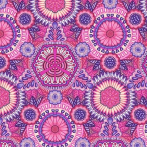 Kaleidoscopic Floral Pink and Violet medium scale