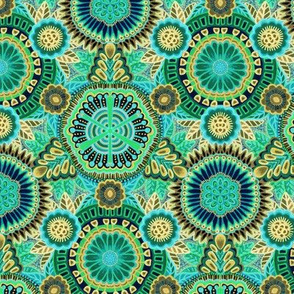 Kaleidoscopic Floral Turquoise and Flax medium scale