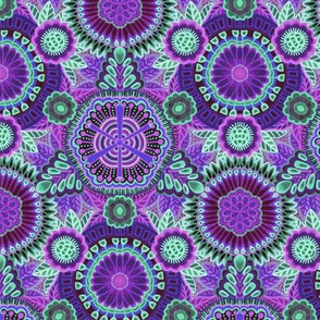 Kaleidoscopic Floral Purple and Mint Green medium scale