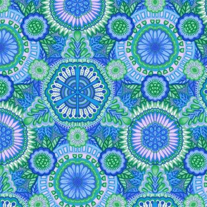 Kaleidoscopic Floral Light Blue and Green medium scale