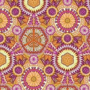Kaleidoscopic Floral Orange and Pink medium scale