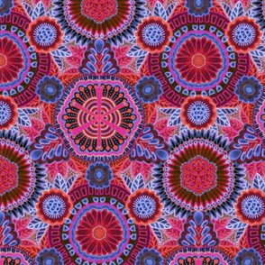 Kaleidoscopic Floral Ruby and Denim medium scale