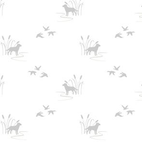 hunting scene gray on white