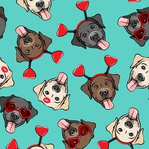 Valentine's Day Labrador retrievers - labs teal - LAD19
