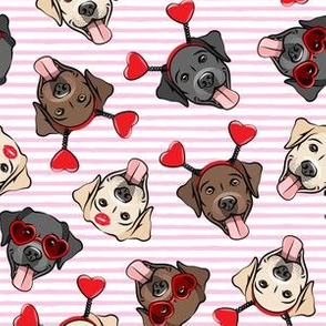 Valentine's Day Labrador retrievers - labs pink stripes - LAD19