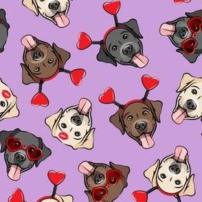 Valentine's Day Labrador retrievers - labs purple - LAD19