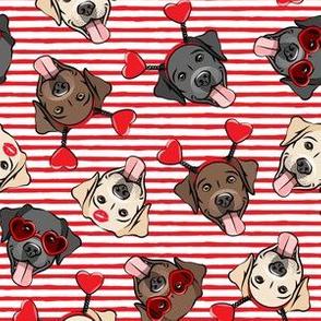 Valentine's Day Labrador retrievers - labs red stripes - LAD19