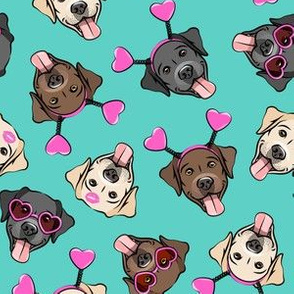 Valentine's Day Labrador retrievers - labs teal and pink - LAD19