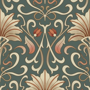 Art nouveau wallpaper on dark