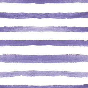 Amethyst watercolor stripes ★ soft purple painted horizontal stripes for modern home decor, bedding, nursery