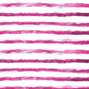 Raspberry painted stripes ★ watercolor grungy pink horizontal stripes for modern nursery, home decor, bedding