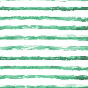 Emerald brush stroke stripes ★ watercolor tonal horizontal stripes in grungy style for modern home decor, bedding, nursery