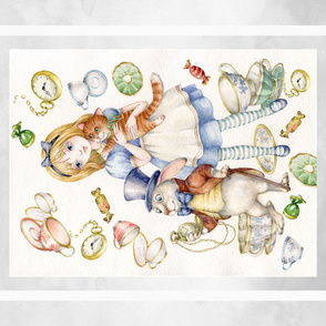 """42"""" by 36"""" alice in wonderland panel gray"""