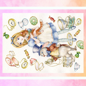 """42"""" by 36"""" alice in wonderland panel pink"""