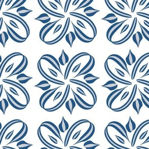 Classic Blue and Silver Ribbons on White Pantone 2020