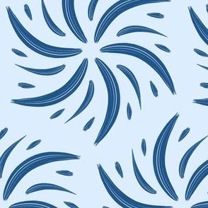 Classic Blue Brushstroke Pinwheel Radial Organic on Light Blue Pantone 2020
