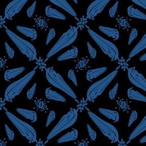 Classic Blue Brushstrokes on Black Pantone 2020