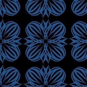 Classic Blue Bubble Flower on Black Pantone 2020