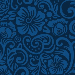 Classic Blue Floral large scale