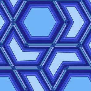 Classic Blue Hexagon and Arrow Geometric on Light Blue Pantone 2020