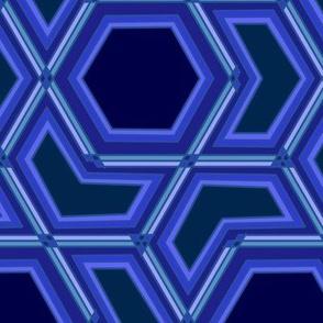 Classic Blue Hexagon and Arrow Geometric on Dark Blue Pantone 2020
