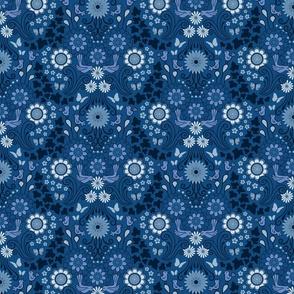 Decorative Garden Scene Classic Blue small scale