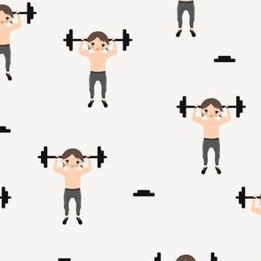 Crossfit boys weight lifting men illustration for gym addicts and fit boys off white