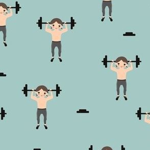 Crossfit boys weight lifting men illustration for gym addicts and fit boys blue